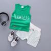 เสื้อ+กางเกง สีเขียว แพ็ค 4ชุด ไซส์ S-M-L-XL (เหมาะสำหรับ 6ด.-4ปี)