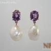 ต่างหูเงินมุขและอเมทิสต์(Earrings pearl&amethyst)