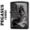 """ไฟแช็ค Zippo แท้ ลายม้าเพกาซัส """"Winged Pegasus Black Ice Chrome"""" #28802 แท้นำเข้า 100%"""