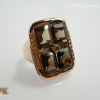 แหวนสโมคกี้ล้อมซิทรีน (Smokyquartz Silver Ring)