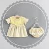 ชุดเดรสลายทางสีเหลืองพร้อมกางเกงใน แพ็ค 3 ชุด [size 6m-1y-2y]