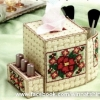 แพทเทิร์นกล่องทิชชู+ที่ใส่ของดอกไม้สีครีม