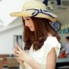 [พร้อมส่ง] H4054 หมวกสาน/หมวกไปทะเล หมวกปีก พับ แต่งด้วยริบบิ้นโบ สีน้ำเงิน งานน่ารักค่ะ