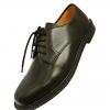 รองเท้าหนังผูกเชือก สีดำ หัวมน