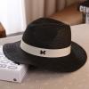[พร้อมส่ง] H6804 หมวกปานามา สีดำ คาดสายด้วยริบบิ้นผ้าเก๋ๆ ติดตัวอักษร M สไตล์ชาแนล Chanel Style