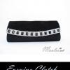 พร้อมส่ง Evening Clutch กระเป๋าออกงาน สีดำ ฝาลายสานสวย ฝาแต่งเลื่อมสลับขาวดำ