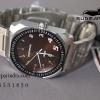 นาฬิกา US Submarine J135 M D หน้าปัดน้ำตาล ตัวเรือนสีเงิน