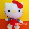 Sanrio HELLO KITTY Fiesta Classic Kitty! Blue Red Bow Plush Doll ตุ๊กตาคิตตี้สวมชุดเอี๊ยมสีแดง