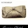 พร้อมส่ง Evening Clutch กระเป๋าออกงาน VictoriaDelef ผ้าซาติน จับเดรป สีครีม Champagne
