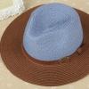 [พร้อมส่ง] H7314 หมวกปานามา สลับสีน้ำตาลและฟ้า ตกแต่งด้วยเข็มขัดหนังคาด
