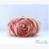 พร้อมส่ง Evening Clutch กระเป๋าออกงาน รูปดอกกุหลาบ เนื้อซาตินสวย พร้อมสายโซ่ สั้น-ยาว สีโอโรส