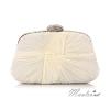 พร้อมส่ง Evening Clutch กระเป๋าออกงาน สีขาว แบบอัดพลีทจับจีบผาซาติน คริสตัลสวยหรู ทรงกระทัดรัด มาพร้อมสายสะพายสั้น/ยาว