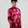 ชุดจีน ชาย เสื้อคอจีน ผ้าไหมจีน ทอลาย สีแดง ไวน์แดง