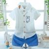 ชุดเซตเสื้อเชิ้ตแขนสั้นสีขาวลายกระต่าย+กางเกงขาสั้นสีฟ้า [size 6m-1y-2y]