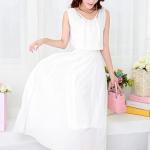 [พร้อมส่ง] เสื้อผ้าแฟชั่นเกาหลี เดรสแฟชั่นเกาหลี ผ้าชีฟอง จั้มเอว มีซับใน แบบสวม สีขาว *สินค้าจริงไม่มีคนขนนกเหมือนในภาพ