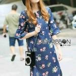 [พร้อมส่ง] เสื้อผ้าแฟชั่นเกาหลี เดรสผ้าเดนิมพิมพ์ลายดอกไม้สไตล์ลำลอง ตัวนี้เป็นผ้าเดนิมเนื้อนิ่ม ผ้าเนื้อบาง
