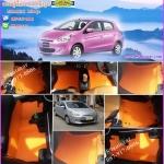 ผ้ายางปูพื้นรถยนต์ Mitsubishi Mirage ลายกระดุมสีส้มขอบส้ม