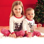 เสื้อ+กางเกง คริสต์มาส 16297 สีขาว แพ็ค 4 ชุด ไซส์ 100-110-120-130(เลือกไซส์ได้)