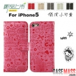 case iphone 5 เคสไอโฟน5 เคสหนังกระเป๋าพับลายการ์ตูนน่ารัก Korean of iPhone5 small witch holster