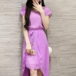 [พร้อมส่ง] เสื้อผ้าแฟชั่นเกาหลีราคาถูก เดรสแฟชั่นเกาหลี ผ้าชีฟอง มีซับใน จั้มเอว มีสายผูกเอวหลอก แบบสวม ชุดสีม่วง