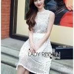 [พร้อมส่ง] เสื้อผ้าแฟชั่นเกาหลี เดรสผ้าลูกไม้สีขาวคลาสสิก ตัวนี้หรูสุดๆ เน้นที่ลายลูกไม้ ทอมาพิเศษ ลายสวยมากค่ะ ใส่แล้วดูเหมือนเจ้าหญิง
