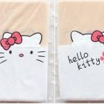 [พร้อมส่ง] P2308 ถุงน่องลายคิตตี้ สีขาว โบชมพู พิมพ์ลายครึ่งหน้า มีรอยเท้าแมวด้วยจ้า น่ารักสุดๆ kitty (มีรอยเท้า)