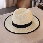 [พร้อมส่ง] H7105 หมวกสานทรงปานามา แต่งขอบดำ ตกแต่งตัวอักษรตัว M