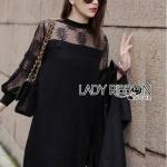 [พร้อมส่ง] เสื้อผ้าแฟชั่นเกาหลี เดรสผ้าเจอร์ซีย์คอตตอนตกแต่งลูกไม้สีดำ ตัวนี้เป็นแบบเบสิกใส่ง่ายๆ