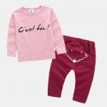 เสื้อ+กางเกง สีชมพู แพ็ค 4ชุด ไซส์ 70-80-90-100 (เหมาะสำหรับ 1-4ขวบ)