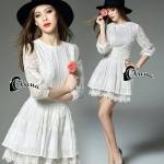 [พร้อมส่ง] เสื้อผ้าแฟชั่นเกาหลี Mini Dress ผ้าลูกไม้ลวดลายเอกลักษณ์ที่สวยเด่น ช่วงแขนจั้มซีทรู มีซับในและต่อชายด้วยผ้ามุ้งและลูกไม้