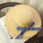 [พร้อมส่ง] H7308 หมวกสานปีกกว้าง ทอขอบรุ่ย ตกแต่งด้วยโบผ้ายีนส์