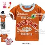 M2103-O DOUBLE.B Miki house เสื้อยืดเด็ก สีส้ม สกรีนและปักแปะ Mountain เหลือ Size 80/90
