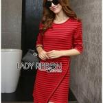 [พร้อมส่ง] เสื้อผ้าแฟชั่นเกาหลี มินิเดรสลายทางสไตล์มินิมัลชิค สีแดง