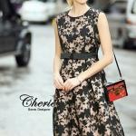 [พร้อมส่ง] เสื้อผ้าแฟชั่นเกาหลี เดรสยาวแขนกุดลายดอก