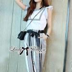[พร้อมส่ง] เสื้อผ้าแฟชั่นเกาหลีเซ็ตเสื้อและกางเกงลายทางสไตล์สมาร์ท เซ็ตนี้คุ้มสุดๆค่ะ ได้สองตัวเข้าเซ็ตกันลงตัว เสื้อเป็นผ้าคอตตอนสีขาว