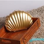 พร้อมส่ง Evening Clutch กระเป๋าออกงาน ทรงเปลือกหอย ใส่ของได้เยอะจุใจ สีทอง มาพร้อมสายสะพายยาว