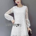 [พร้อมส่ง] เสื้อผ้าแฟชั่นเกาหลี เดรสผ้าลูกไม้ตกแต่งชีฟองสไตล์คลาสสิก ตัวนี้เป็นแบบหวานๆเรียบร้อย ดูคลาสสิก ใส่ง่ายค่ะ