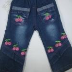 CNJ013 กางเกงยีนส์ เด็กหญิง ขายาว ผ้านิ่มใส่สบาย ปักลายเชอรี่ ตกแต่งระบายตรงกระเป๋าหน้าสองข้างและปลายขา Size 15/16