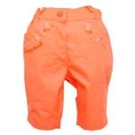 KGP293-37 Kidsplanet กางเกงสามส่วนเด็กหญิง สีส้มพีช ปักลายดอกไม้เลื่อมสีเงินข้างกระเป๋าทั้งสองข้าง Size 12M/18M/24M