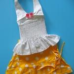 BON065 Kartoon เสื้อสายเดี่ยวเด็กผู้หญิงคล้องคอสีขาว ติดผีเสื้อตรงอก จับสม็อคช่วงลำตัว+ กระโปรงลายจุด สีเหลือง Size 3 ขวบ