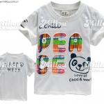 A217 Gufeng เสื้อยืดเด็ก สีขาวครีม ปักแปะ Peace สกรีนหน้าแพนด้า Love of Child & Weer Size 7/9
