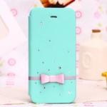 case iphone 5c เคสหนังฝาพับ ปิดข้าง บางๆ ประดับเพชร และ โบว์ น่ารักสุดๆ