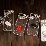 case iphone 5 เคสไอโฟน5 เคสใสประดับเพชรคริสตัล สาวเต้นบัลเล่ย์ หรูหรา ไฮโซ เป็นประกายระยิบระยับ สวยงามมากๆ Ballet girl iphone5 phone shell diamond