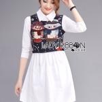 [พร้อมส่ง] เสื้อผ้าแฟชั่นเกาหลี Lady Ribbon's Made เชิ้ตเดรสสีขาว กระโปรงมีปกผ้าคอตตอนสีขาว สวมทับด้วยเสื้อคร็อปแขนกุดปักลายนกฮูกการ์ตูน่ารักๆ