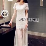 [พร้อมส่ง] เสื้อผ้าแฟชั่นเกาหลี เดรสยาวปักประดับดอกไม้สีขาวทั้งตัวและตัดต่อผ้าโปร่ง