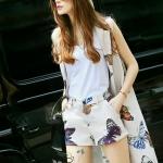 [พร้อมส่ง] เสื้อผ้าแฟชั่นเกาหลี เซ็ทเสื้อคลุม+เสื้อกล้าม+กางเกงขาสั้น ผ้าลายผีเสื้อเนื้อดีหนานุ่มมีน้ำหนัก งานพิมพ์สีสวยสดคมชัดดูสวยหวาน