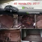 พรม 6D Honda City 2016 สีดำแดง + ท้าย
