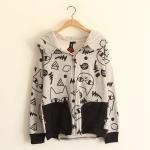 [Pre*order] MM4670 เสื้อแจ็คเก็ตกันหนาว แขนยาว พิมพ์ลายแมวน้อยตาโต มีหมวกฮู๊ดกันหนาว