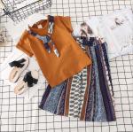 เสื้อ+กางเกง สีน้ำตาล แพ็ค 5 ชุด ไซส์ 7-9-11-13-15