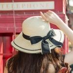 [พร้อมส่ง] H6840 หมวกสานปีกกว้าง หมวกไปทะเล ตกแต่งด้วยริบบิ้นผ้าผูกเป็นโบ แบบน่ารักค่ะ